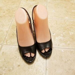 Anne Klein Black Leather High Heel Shoes Size 8.5